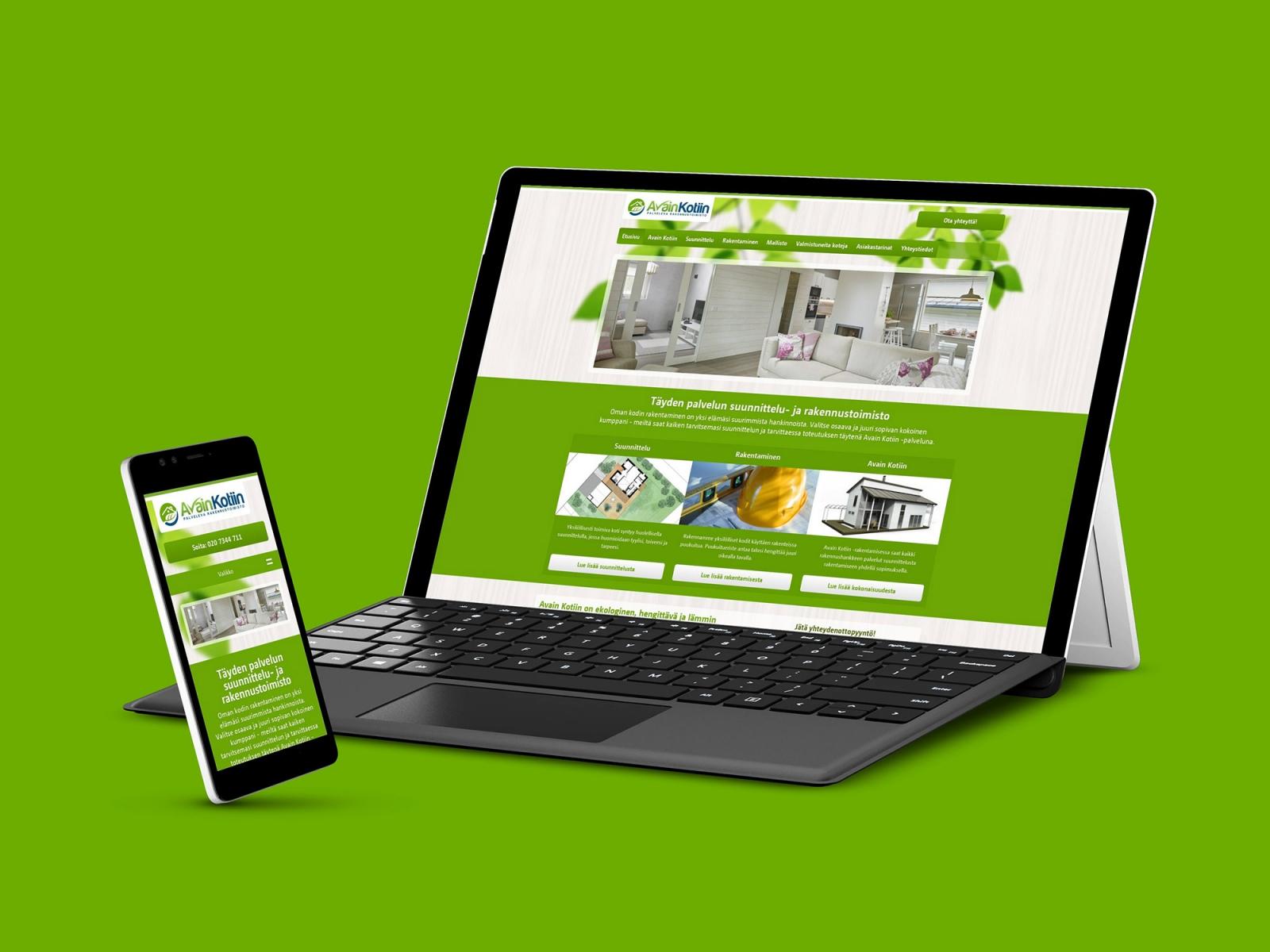 Responsiiviset nettisivut Avain Kotiin -konseptille.