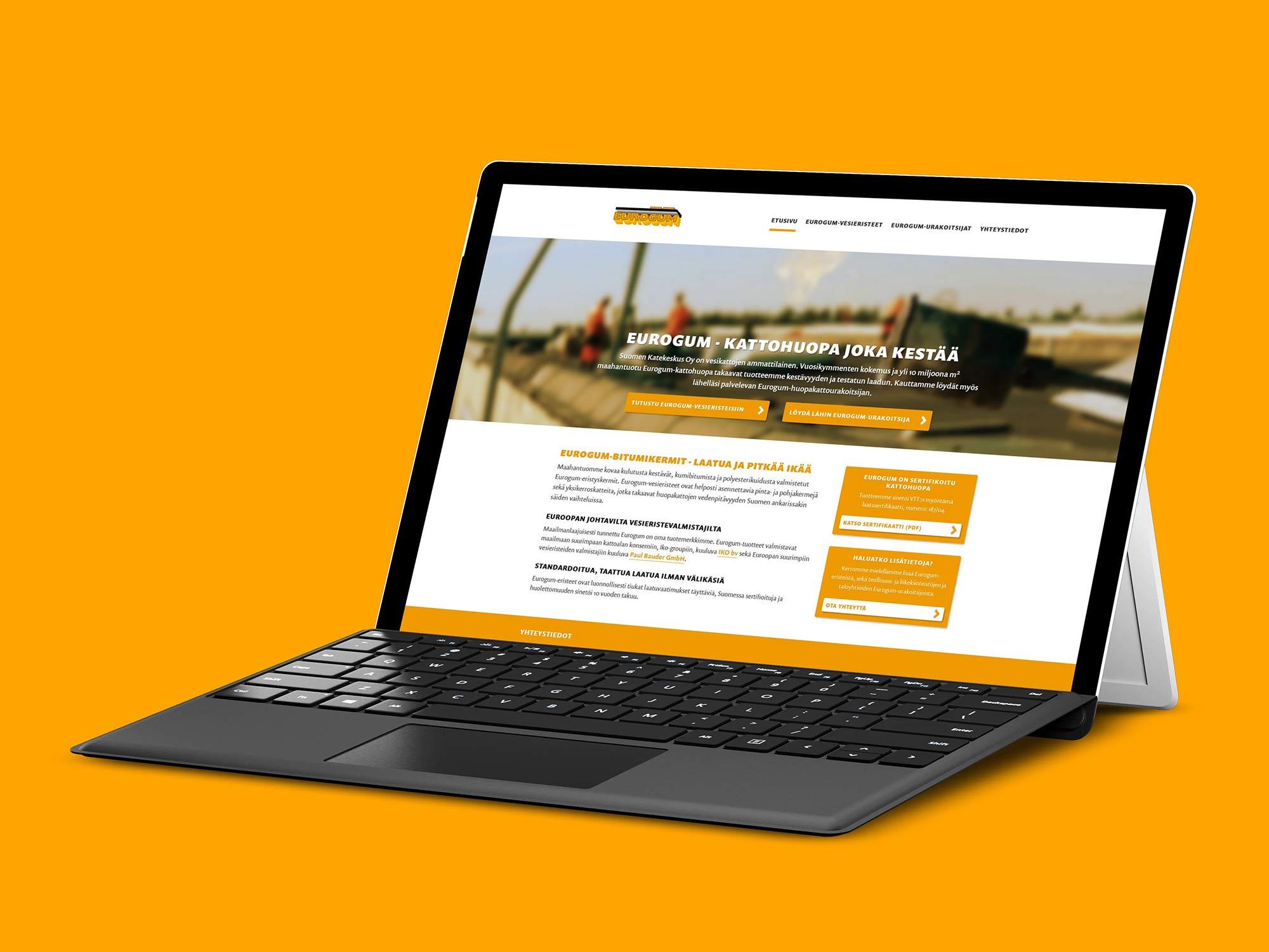 Nettisivut Eurogum-tuotteelle.