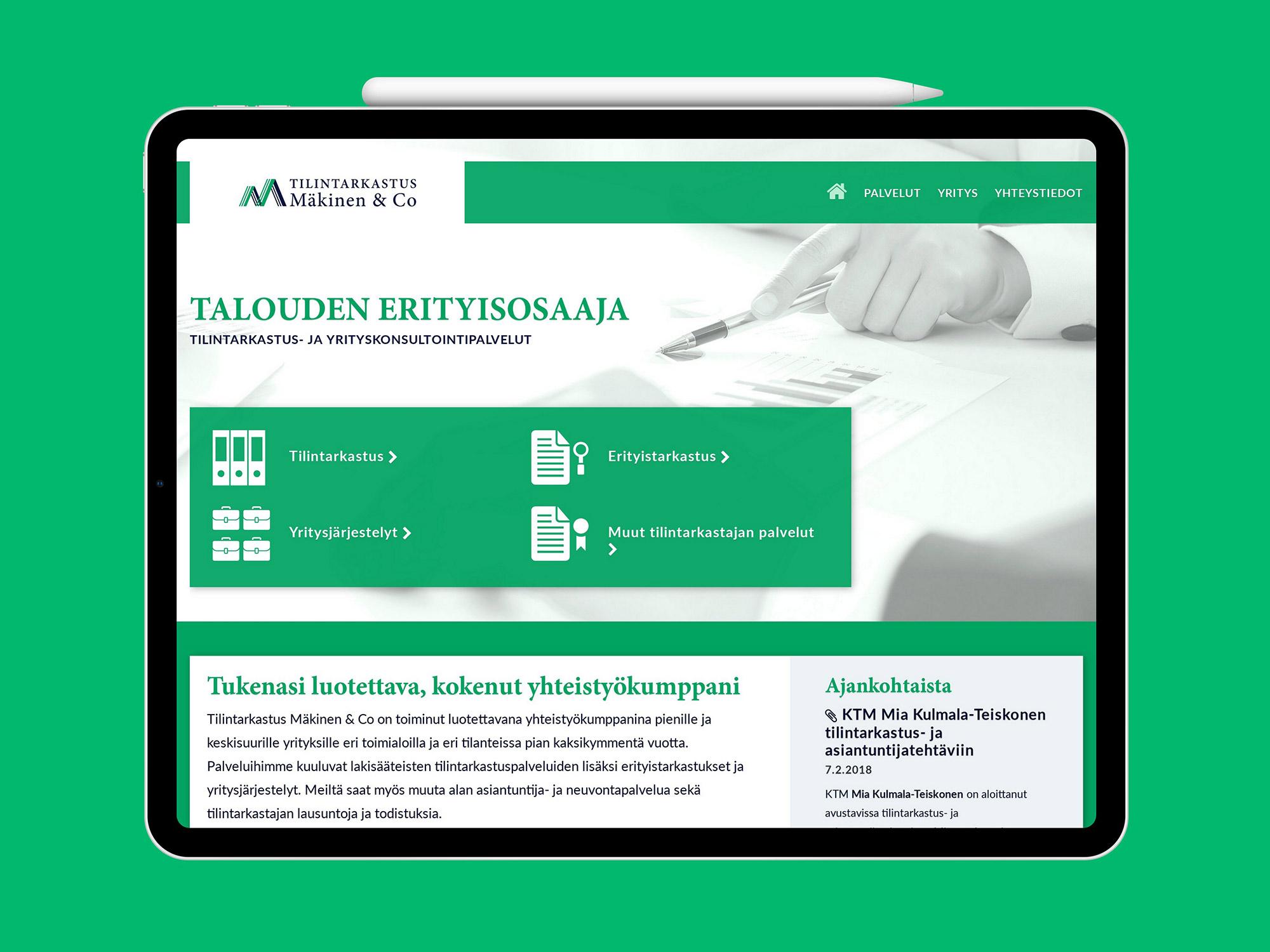 Nettisivut Tilintarkastus Mäkinen & Co:lle.