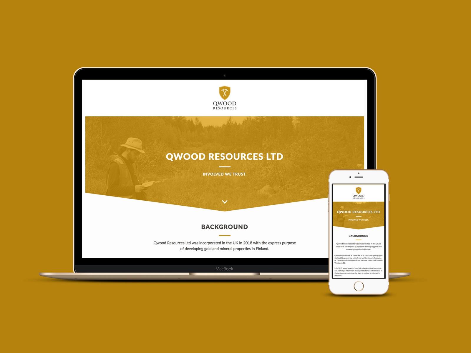 Yhden sivun kotisivu Qwood Resources Ltd:lle.