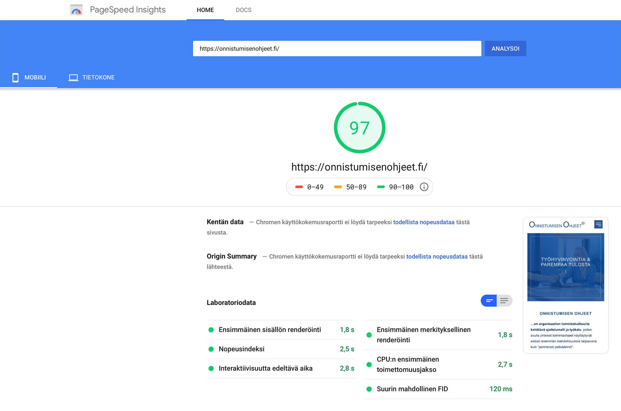 Kuvassa: Nettisivut ja Google PageSpeed Insights -nopeustulos 97 / 100 - Disains Tampere.