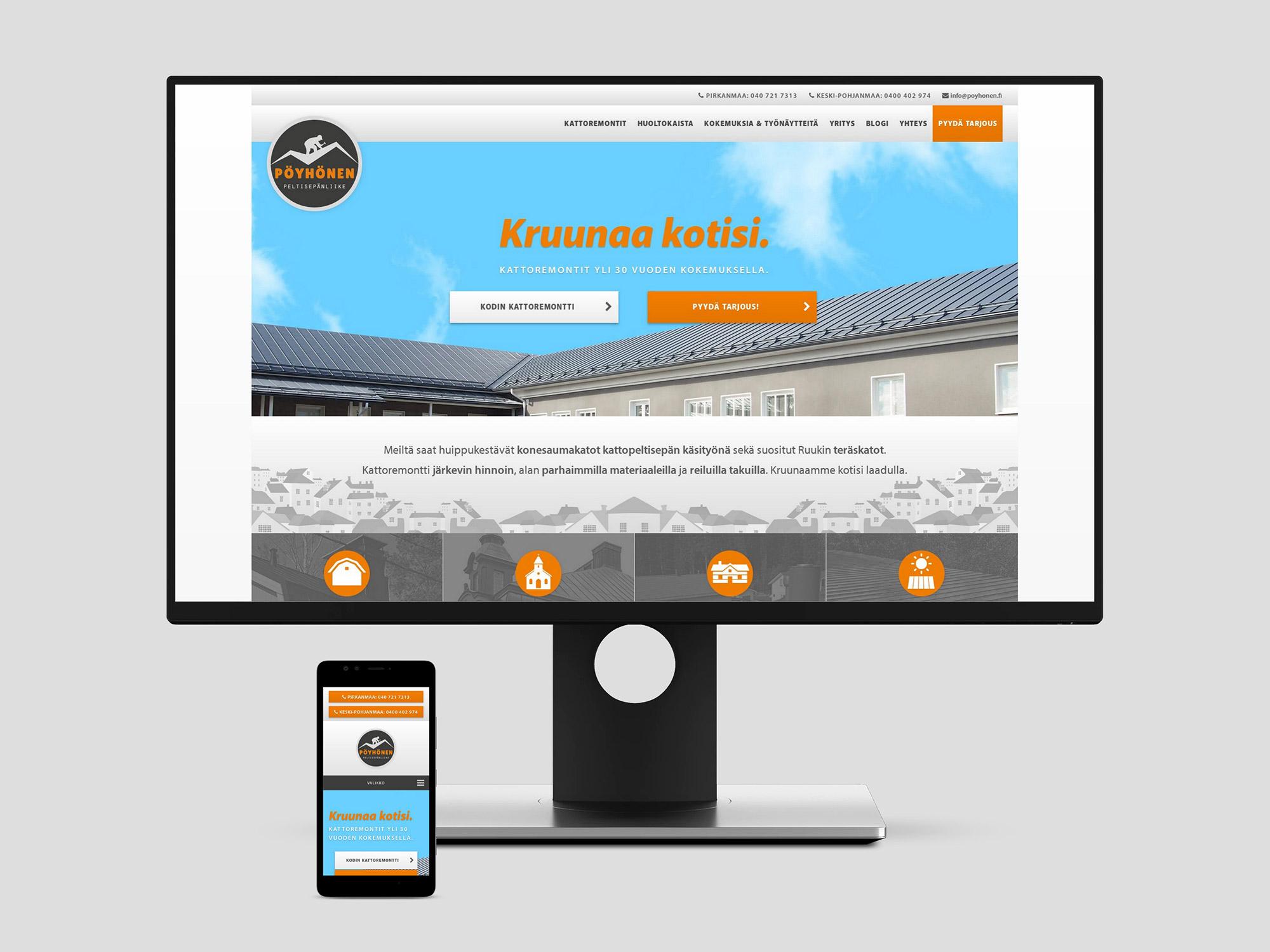 Nettisivut ja WordPress-blogi Peltisepänliike Pöyhöselle.