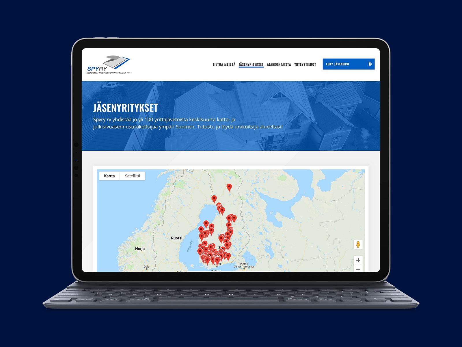 WordPress-sivut esittelevät alueen rakennuspeltiseppäalalla toimivat yritykset kartalla.