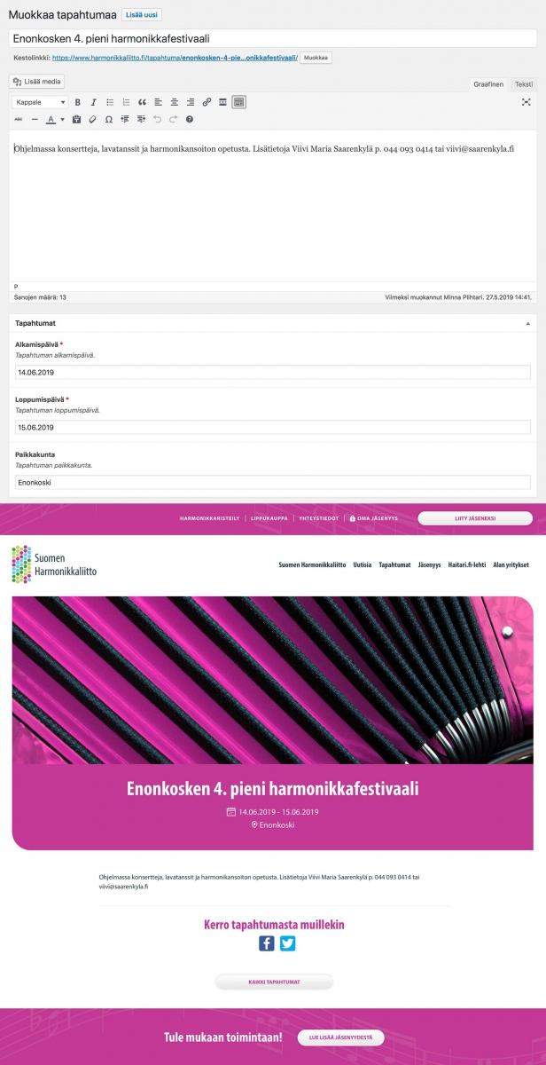 Suomen Harmonikkaliitto ry:n helppokäyttöinen WordPress-tapahtumakalenteri.