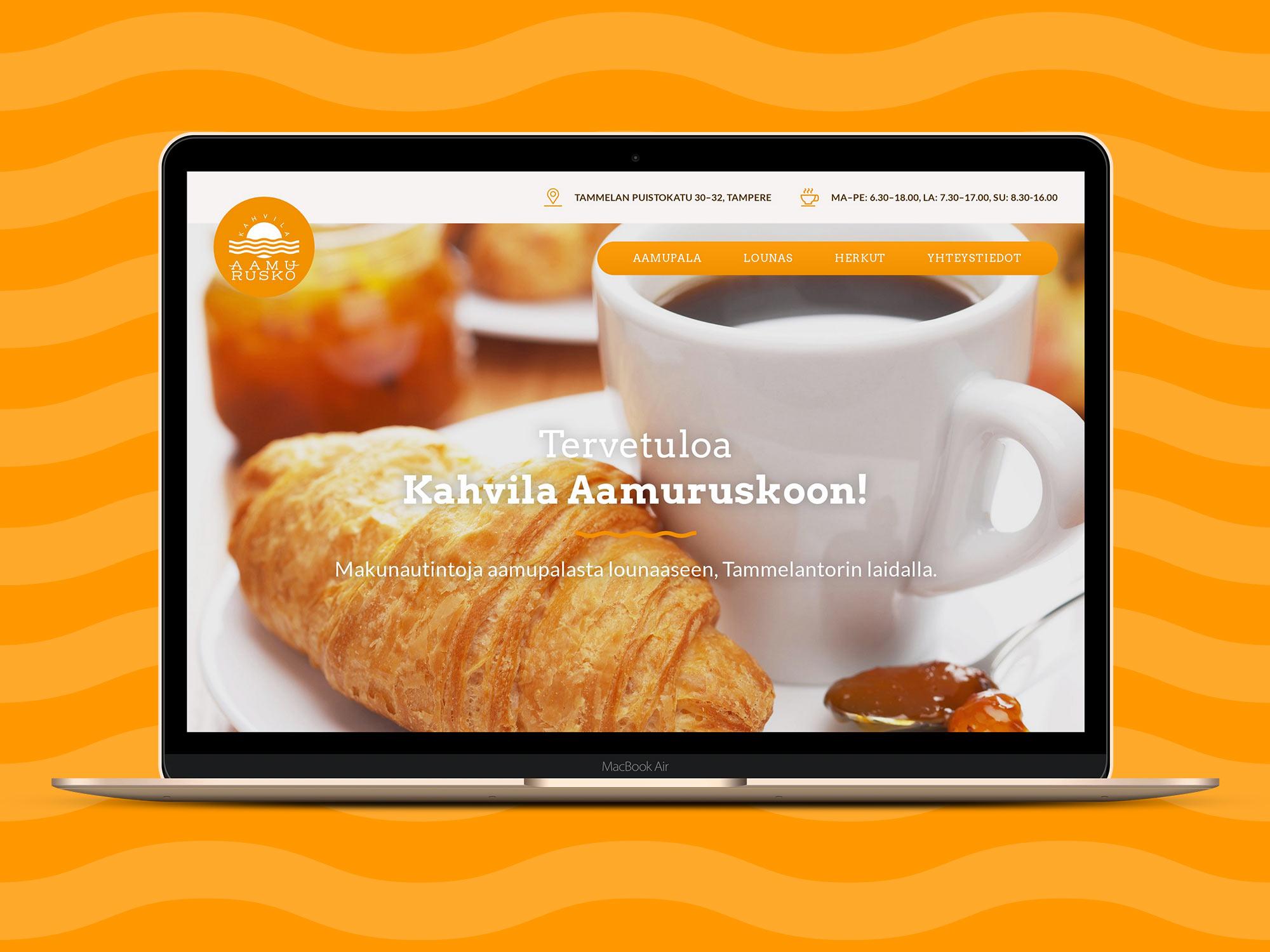 WordPress-kotisivut Kahvila Aamuruskolle