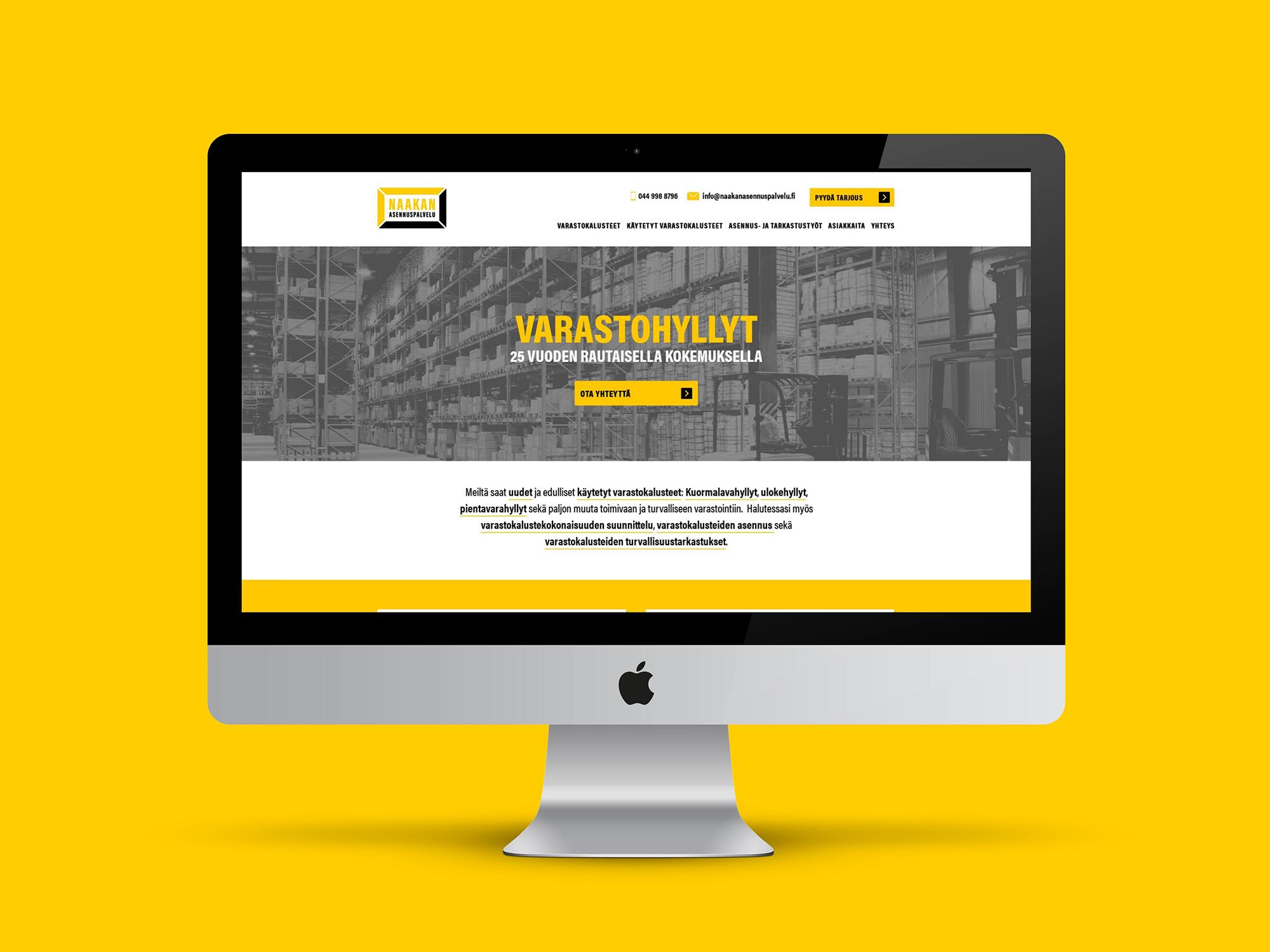WordPress nettisivut Naakan Asennuspalvelulle.