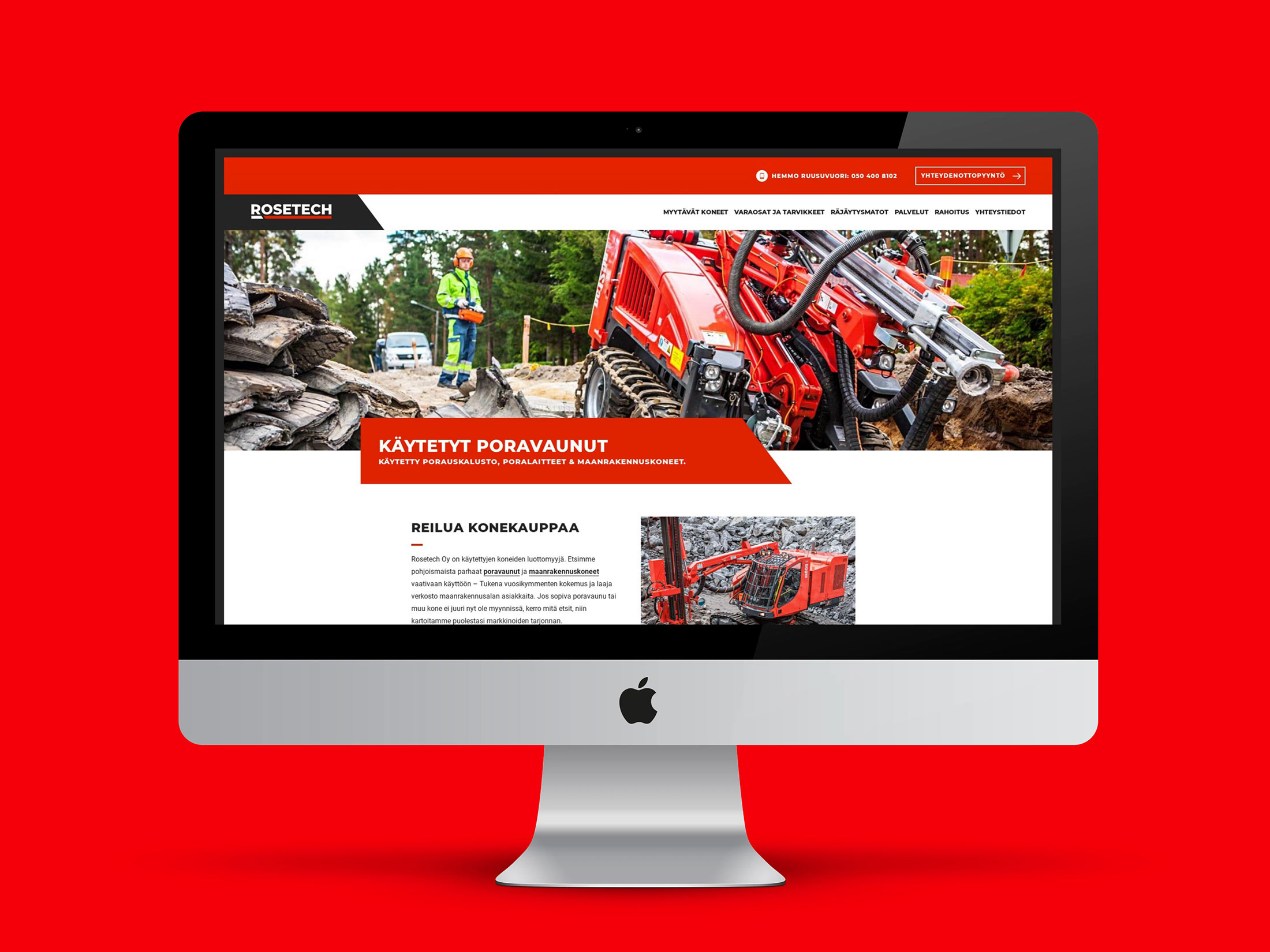 WordPress-nettisivut Rosetech Oy:lle.