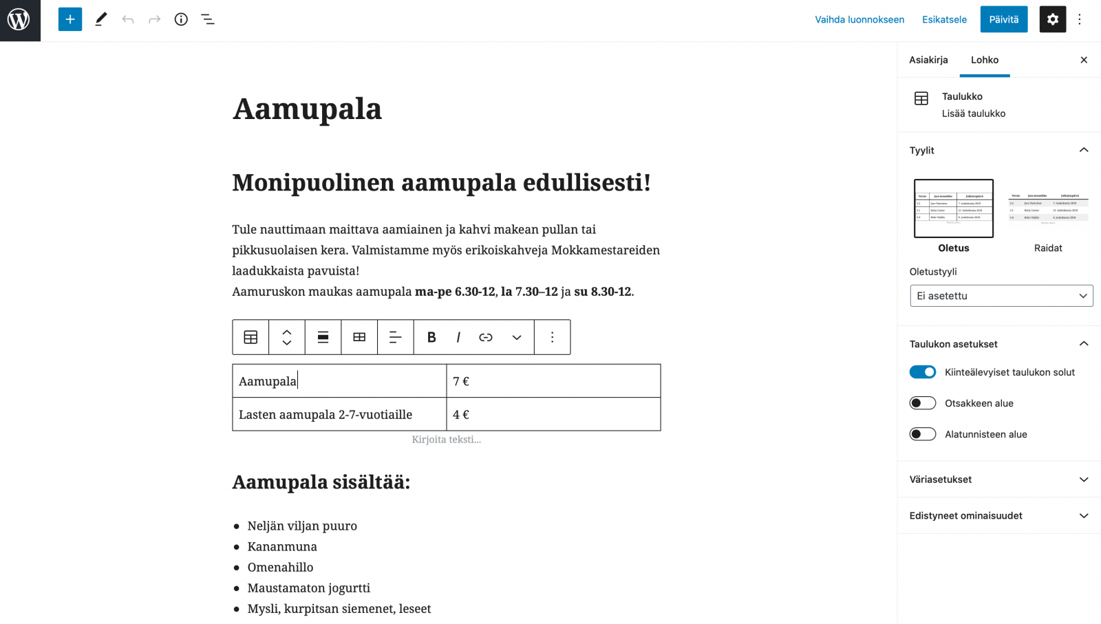 WordPress kotisivujen lohkoilla toimiva sisältöeditori.
